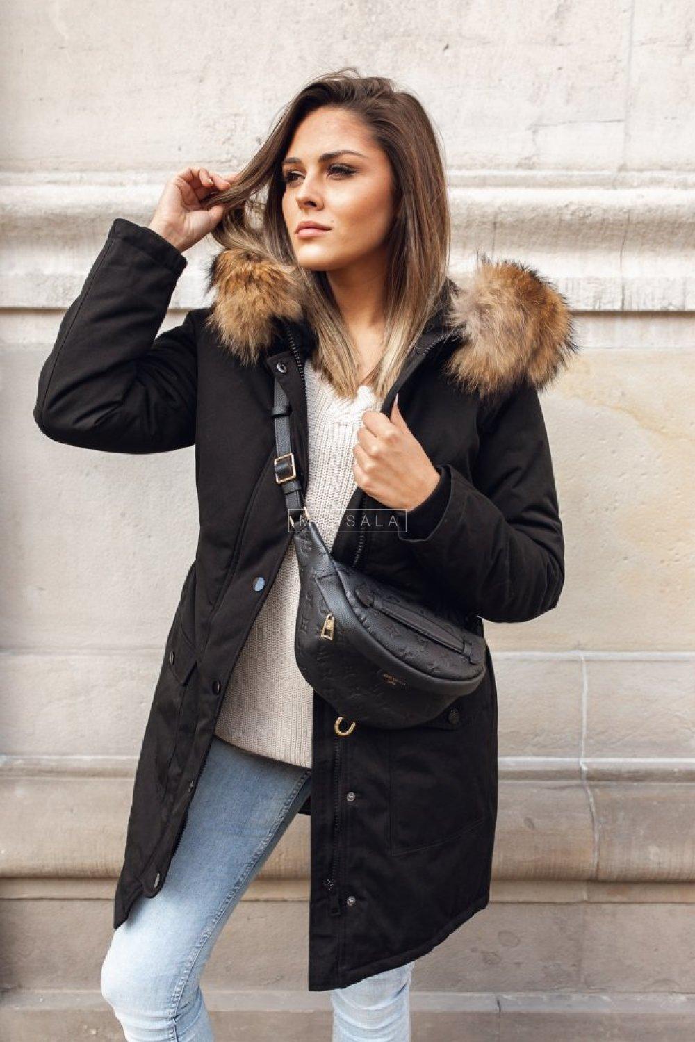 Długa kurtka zimowa w kolorze czarnym z marszczeniem w talii - ONLY