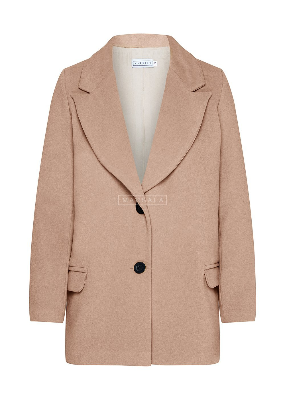 Krótki płaszcz jesienno - zimowy w kolorze beżowym - DIVISION BY MARSALA