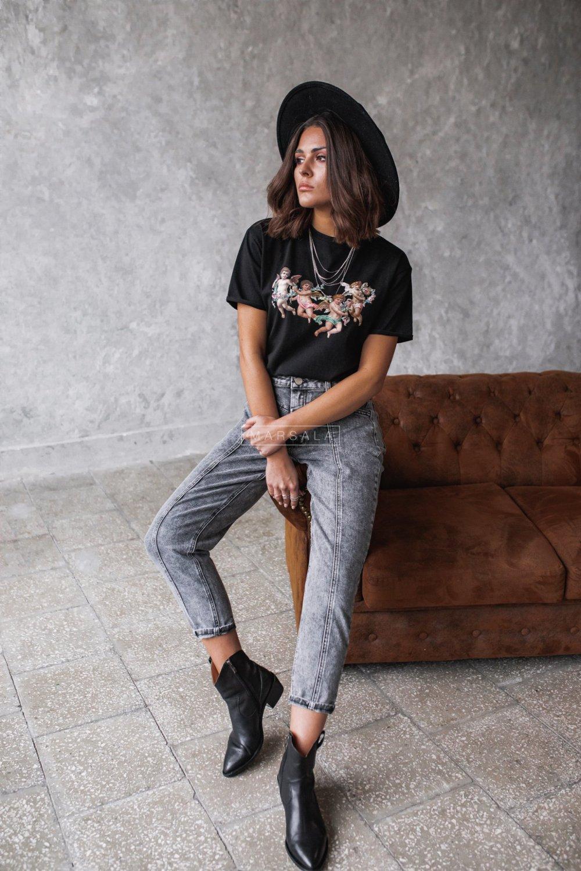Spodnie jeansowe szare z prostymi nogawkami z przeszyciem