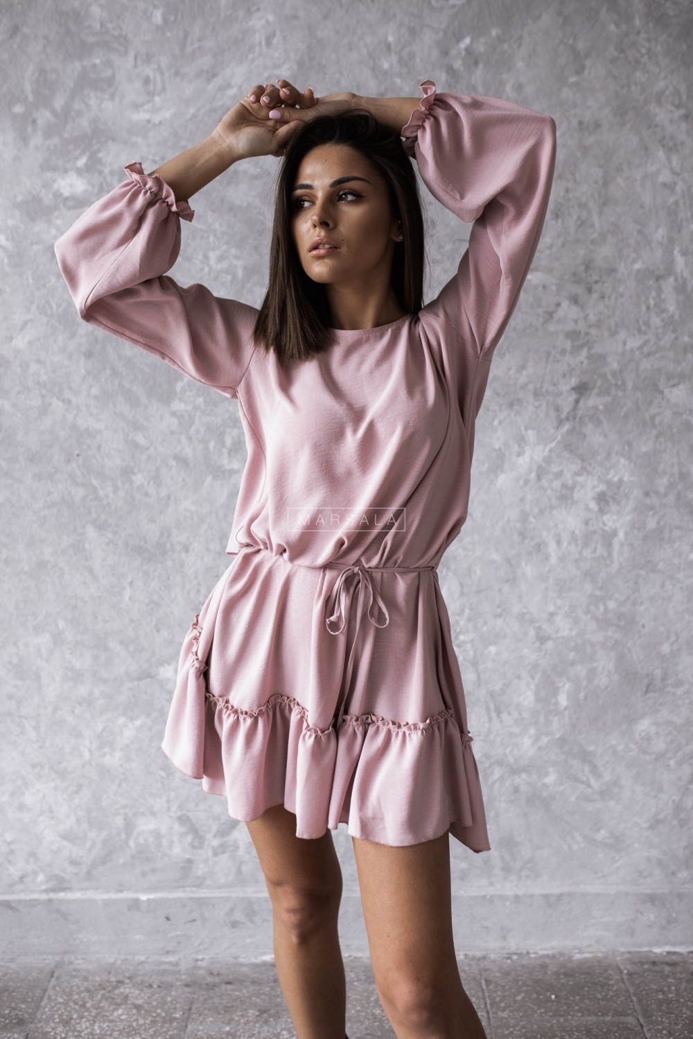 Smooth dress in dirty pink with frill - MAYBE by Marsala