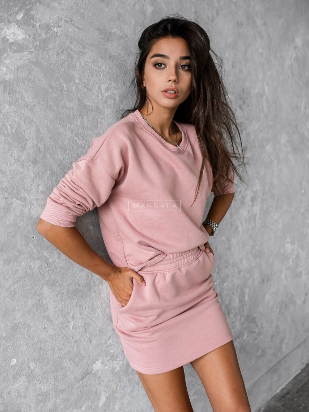 Komplet dresowy ze spódniczką w kolorze pudrowy róż - SENSO by Marsala