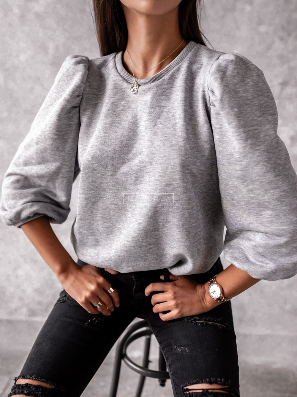 Hoddie with puffy on sleeves in grey - DOLL by Marsala