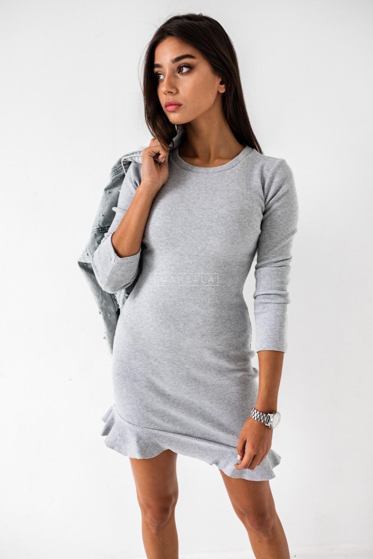 Long-sleeved frill mini dress in grey - DREAM BY MARSALA