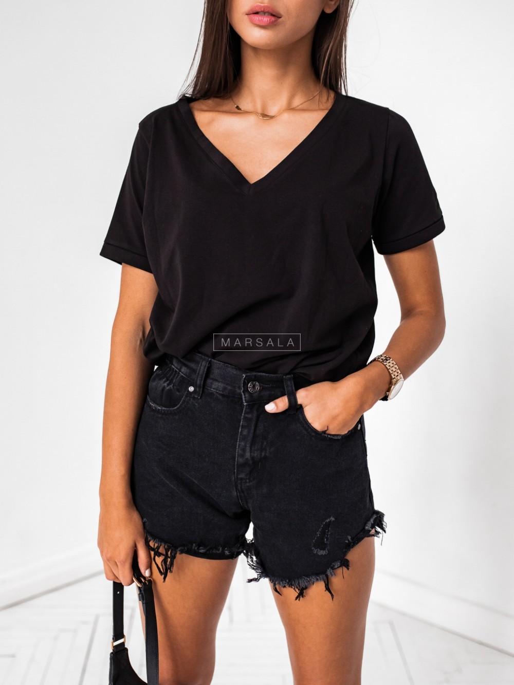 T shirt V NECK BASIC BY MARSALA czarny