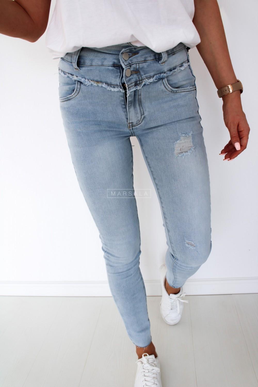 Spodnie z wysokim stanem slim fit jasny jeans PALERMO