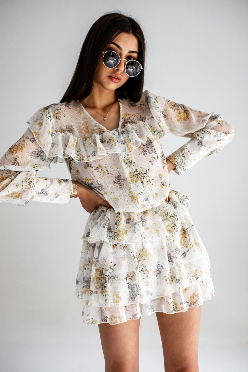 Blouse + skirt set in floral print, powder pink - RITA YELLOW