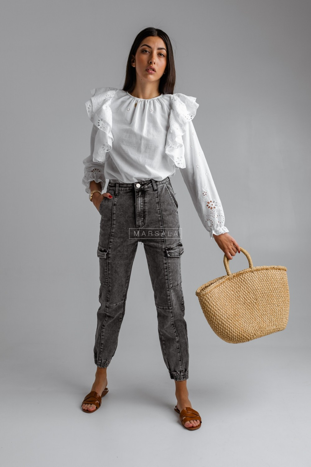Jogger trousers with pockets, grey marbled jeans - MORRIS