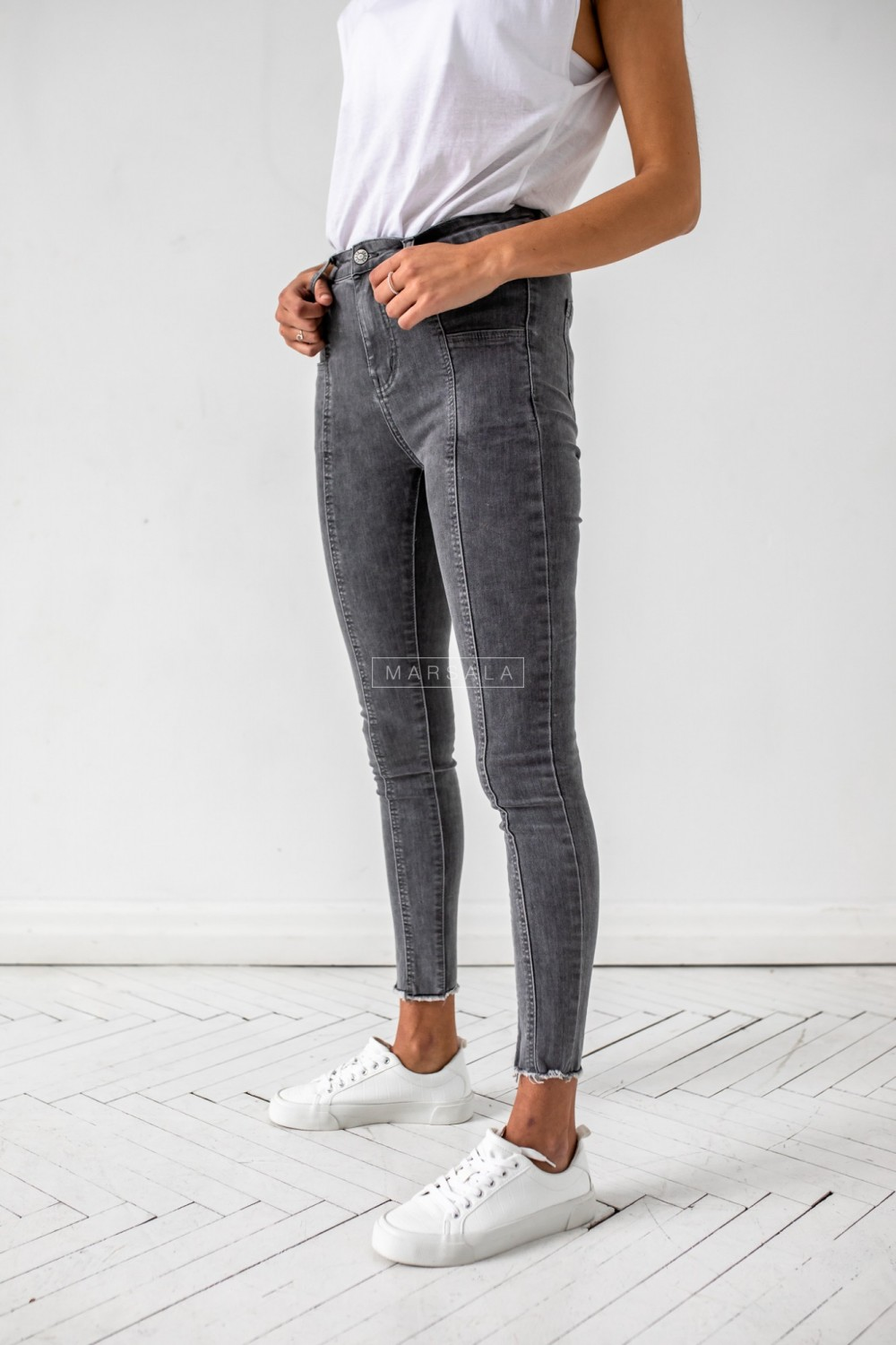 Slim fit trousers with stitching, grey denim - STEVEN GRAY