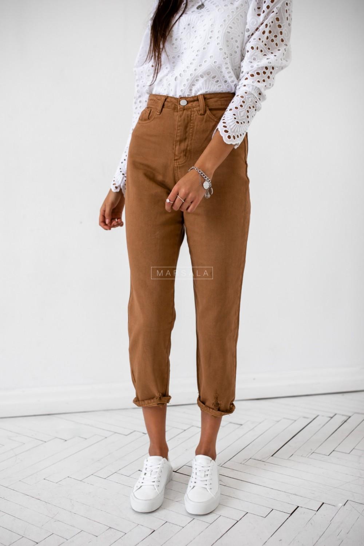 Spodnie typu boyfriend w kolorze brązowym - STONE