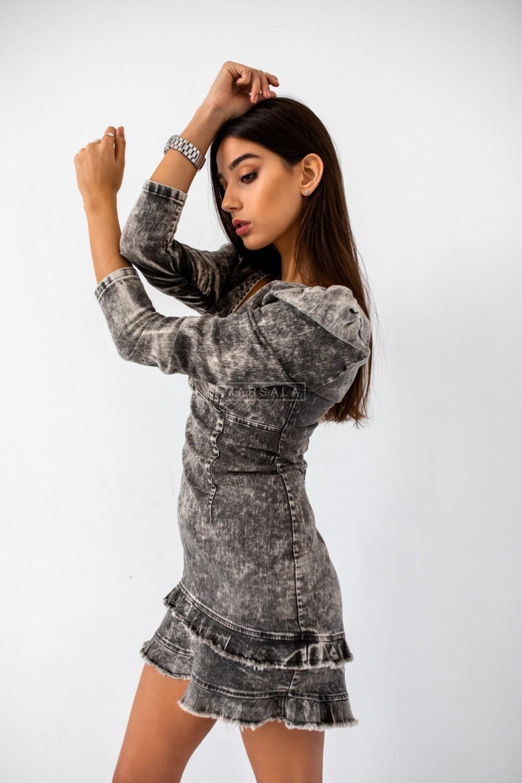 Denim dress with frills - ALEXA BLACK