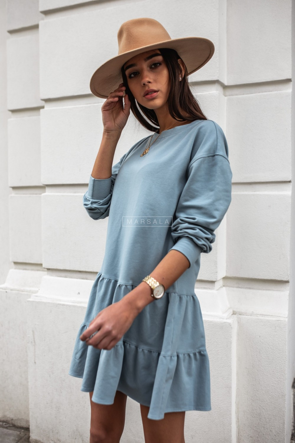 Thin knitted dress with frills ocean green - LUISE BY MARSALA