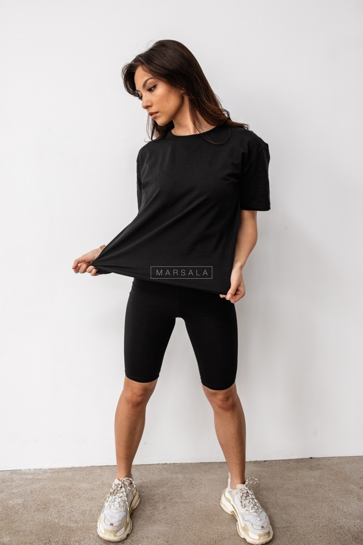 Komplet t-shirt + kolarki w kolorze czarnym DOUBLE by Marsala