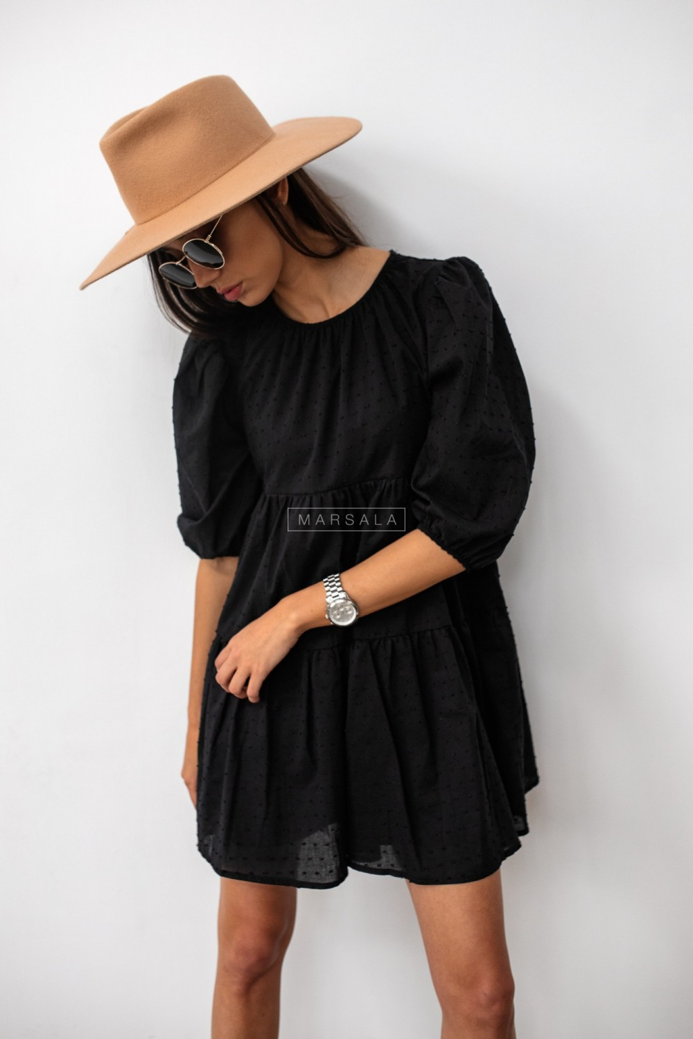 Black flared dress with dots - PENELOPE by Marsala