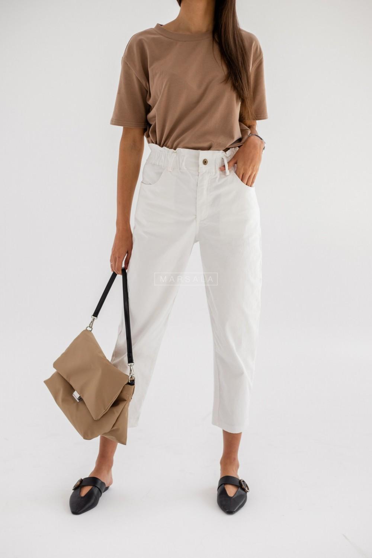Spodnie slouchy w kolorze złamanej bieli - CREEK WHITE