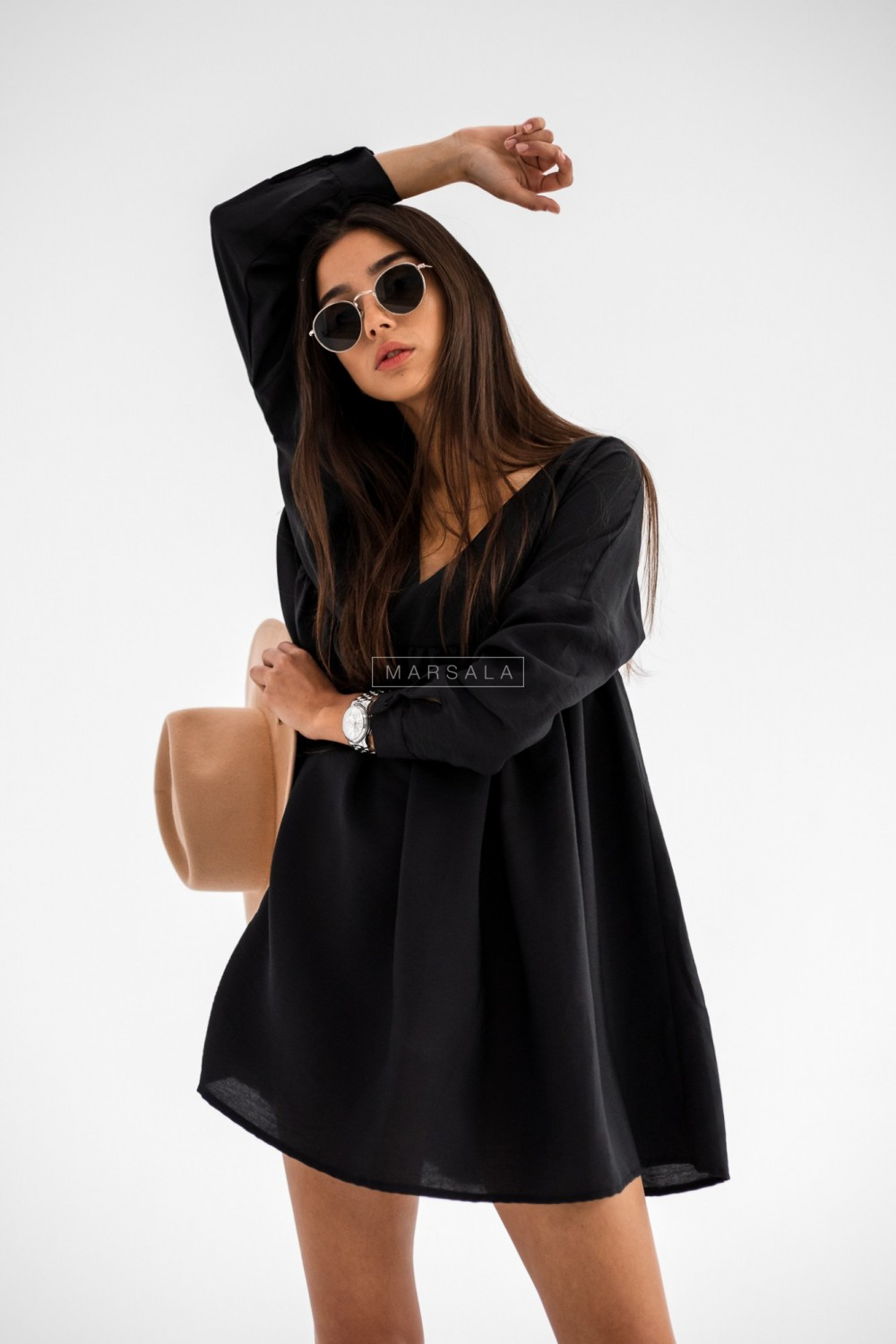 Oversize dress with cut-out under bust and V-neck black PASO BY MARSALA