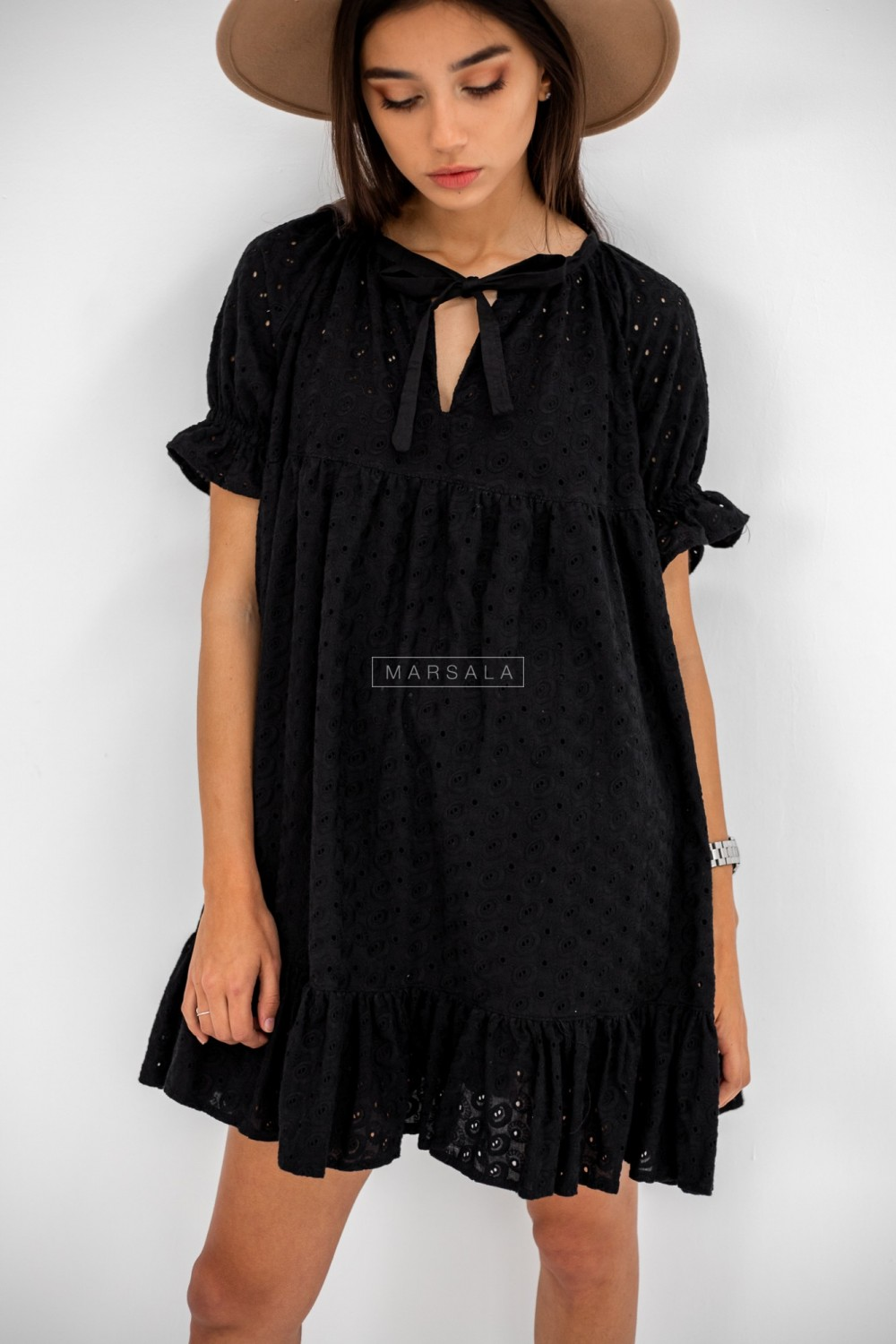 Openwork dress with black oversize cut - CLARITY BLACK by Marsala