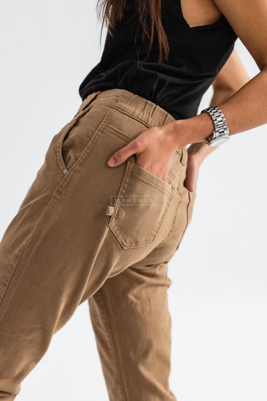 Spodnie baggy w kolorze kamelowym z łańcuchem - FUEGO CAMEL