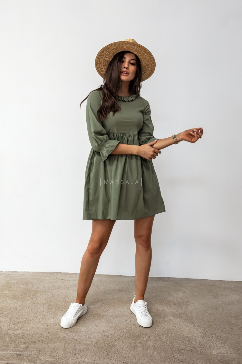 Shirt dress with decorative stand-up collar in khaki - AMELIE by Marsala