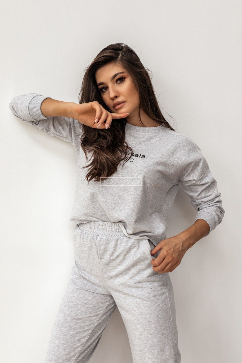 Sweatshirt + grey trousers set with BASIC embroidery - CLOUD by Marsala