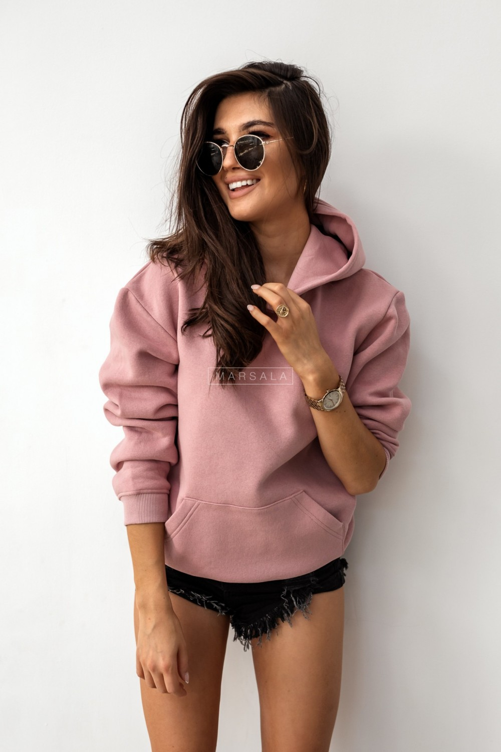 BASIC BY MARSALA hooded sweatshirt dirty pink