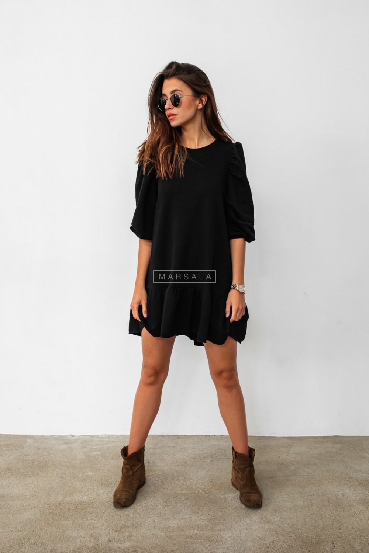 Black sweatshirt puff dress with bottom frill - SALLY by Marsala