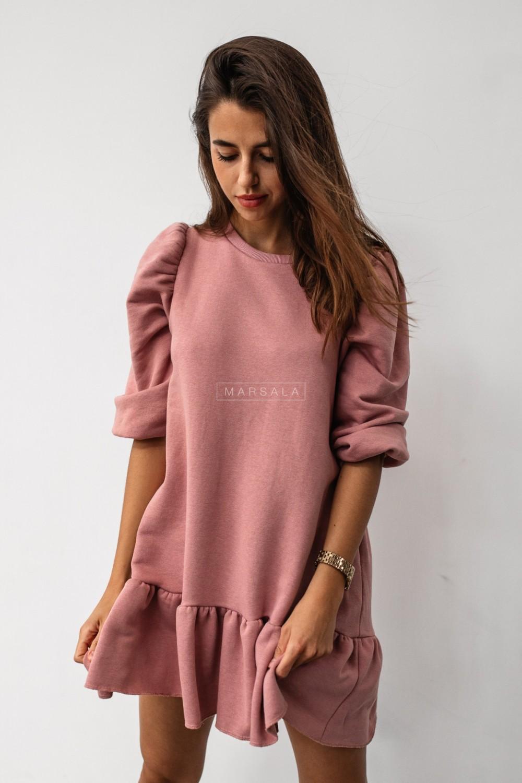 Dirty pink sweatshirt puff dress with bottom frill - SALLY by Marsala