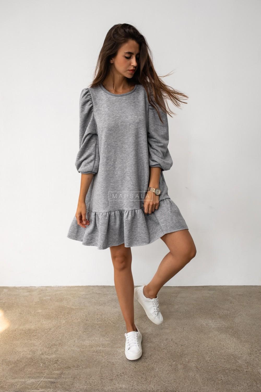 Grey sweatshirt puff dress with bottom frill - SALLY by Marsala