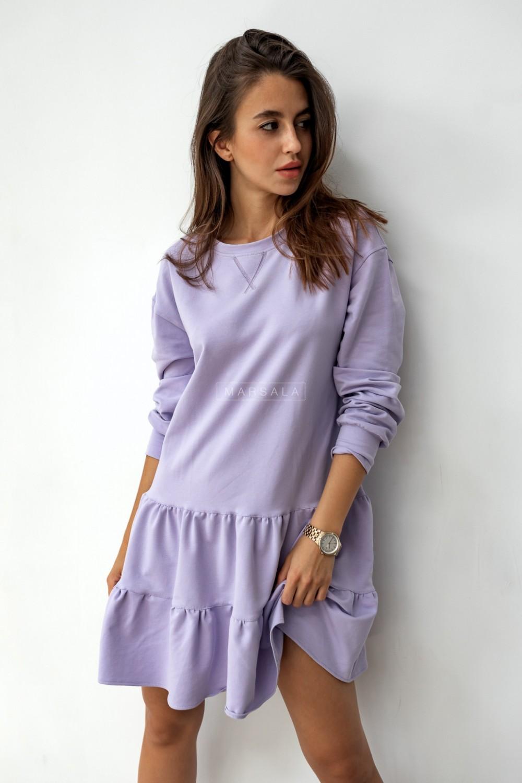 Sukienka z cienkiej dzianiny z falbankami lila - LUISE BY MARSALA