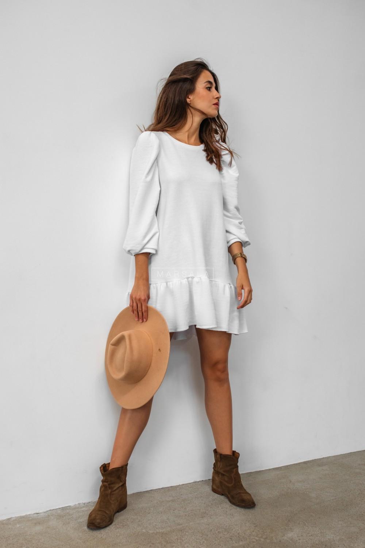White sweatshirt puff dress with bottom frill - SALLY by Marsala