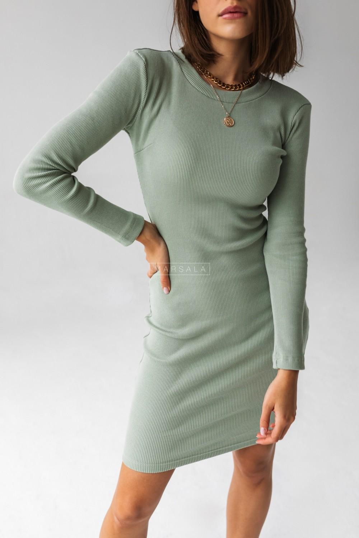 Sukienka dopasowana z długim rękawem w kolorze pistacjowym - KYLIE by Marsala