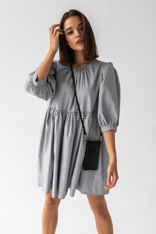 Sukienka o luźnym kroju odcinana pod biustem paseczki szaro-białe - BETTY by Marsala