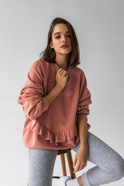 Bluza damska oversize z falbanką na dole brudny róż - ANGEL by Marsala