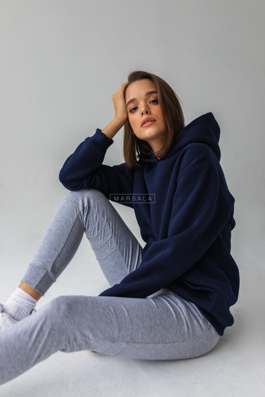 Bluza BASIC BY MARSALA z kapturem w kolorze EVENING BLUE