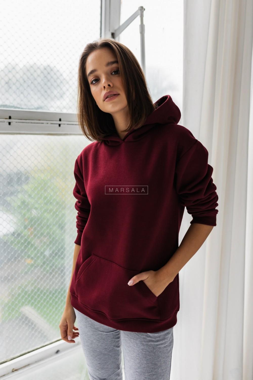 Bluza BASIC BY MARSALA z kapturem w kolorze BURGUNDY