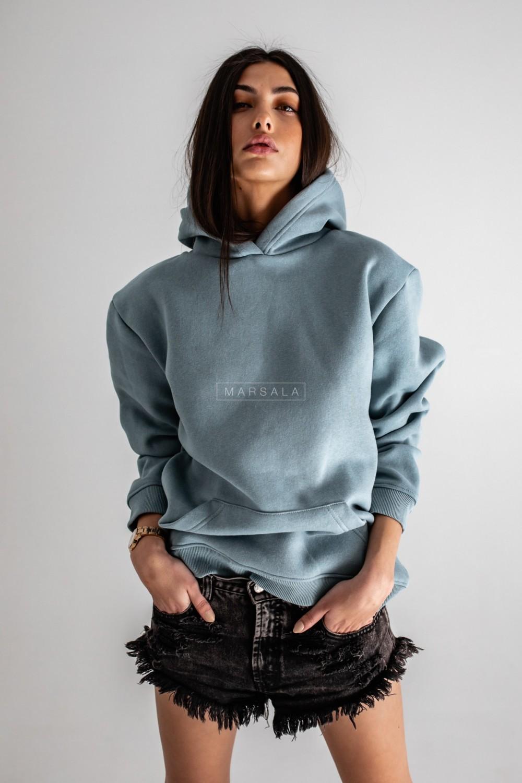 BASIC BY MARSALA hooded sweatshirt in ocean blue