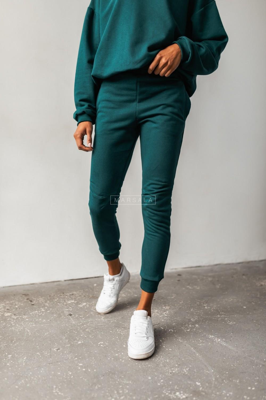Spodnie dresowe w kolorze butelkowej zieleni z przeszyciami - SIMON BY MARSALA