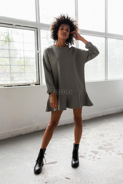 Sukienka typu basic z długim rękawem i falbaną kolor khaki - CASEY by Marsala