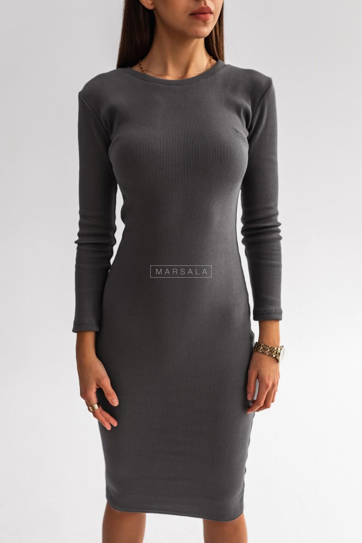 Dopasowana sukienka midi w kolorze stalowym- KYLIE MIDI by Marsala