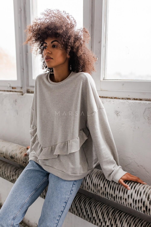 Bluza damska oversize z falbanką na dole szary melanż - ANGEL by Marsala