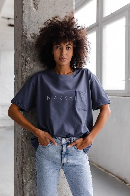 T-shirt damski w kolorze niebieskim z kieszonką SPLIT INDYGO BY MARSALA