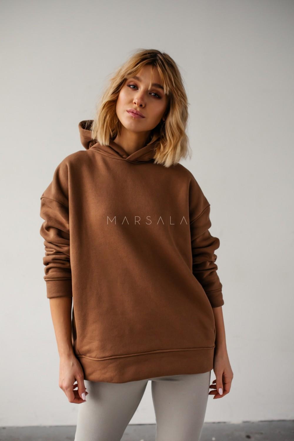 Bluza z kapturem w kolorze milk chocolate - CARDIFF by Marsala
