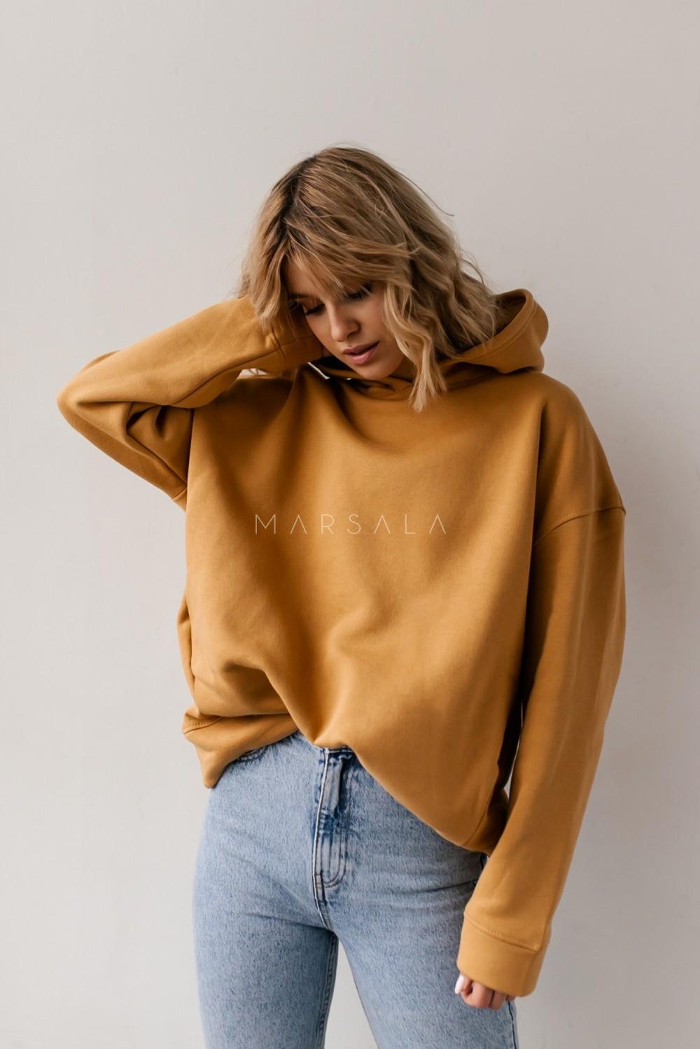 Bluza z kapturem w kolorze honey yellow - CARDIFF by Marsala