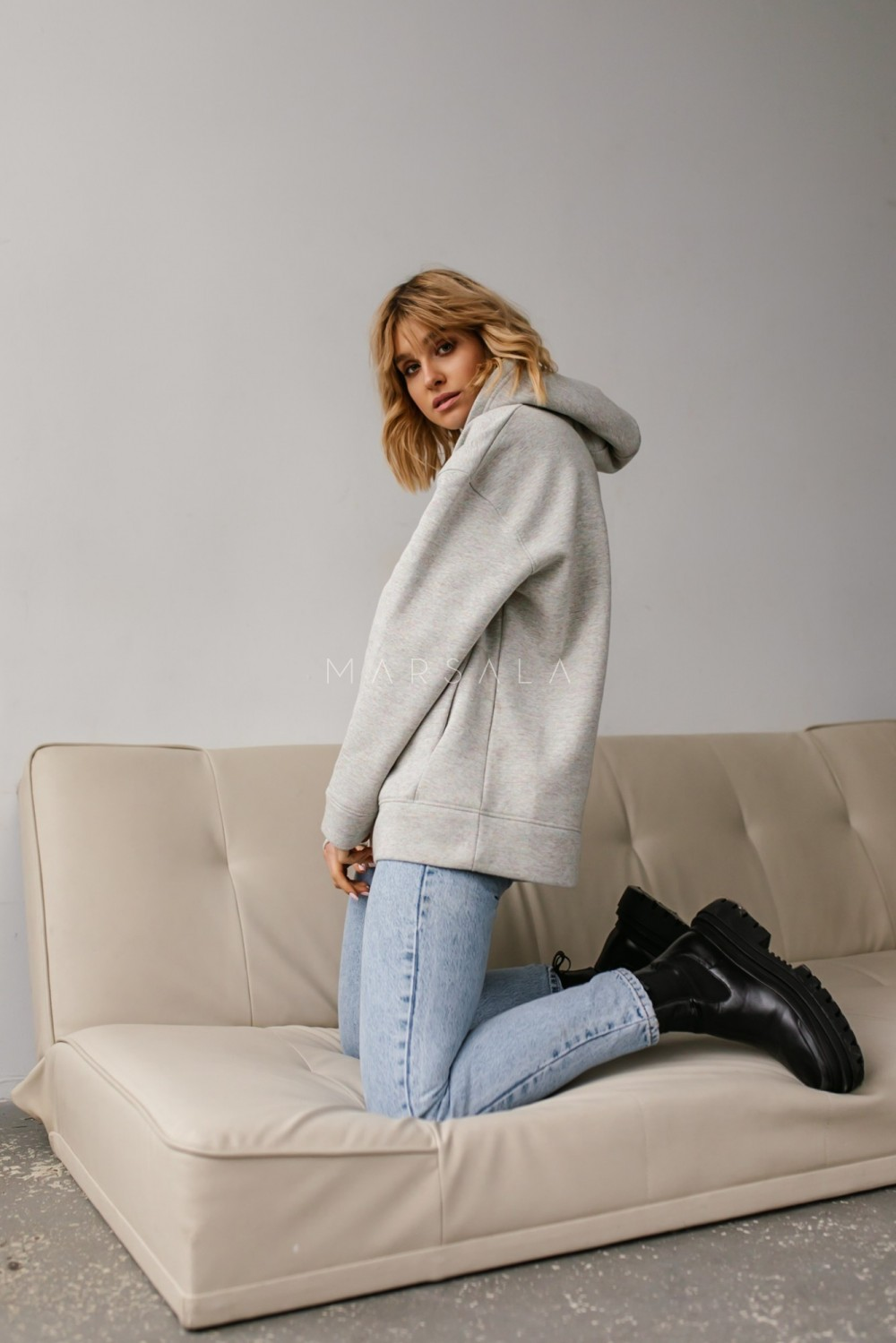 Bluza z kapturem w kolorze grey melange multikolor - CARDIFF by Marsala