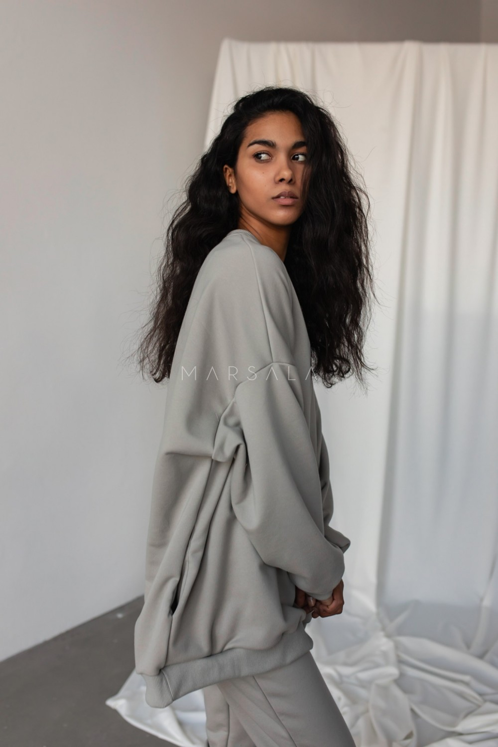 Oversized elongated blouse in ICE FLOW HUSH BY MARSALA