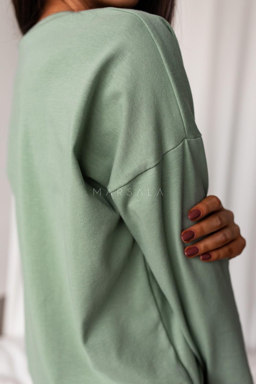 Longsleeve z dekoltem w kształcie V w kolorze GREEN TINT - BY MARSALA