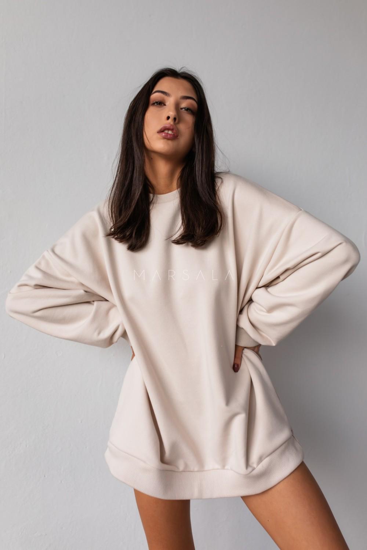 Oversized elongated blouse in WHITE SAND HUSH BY MARSALA