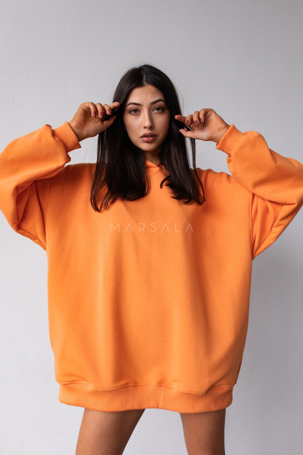 Oversize extended sweatshirt with hood, EXOTIC ORANGE CRUSH BY MARSALA