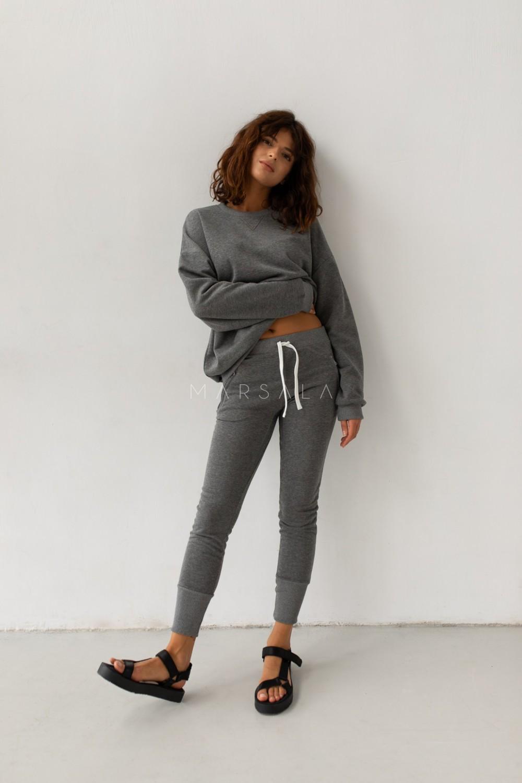 Spodnie dresowe w kolorze ciemnoszary melanż - ACTIVE BY MARSALA