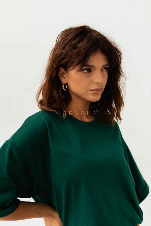 T-shirt typu oversize w kolorze DEEP FOREST GREEN - COY BY MARSALA