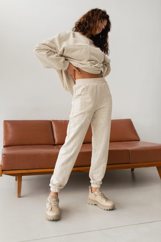 Spodnie dresowe typu jogger w kolorze BEIGE z dodatkiem konopii - DISPLAY KONOPIA BY MARSALA